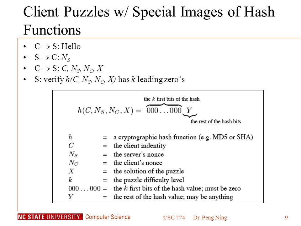 Client Puzzles w/ Special Images of Hash Functions