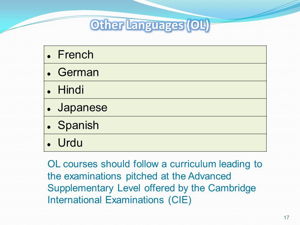 Other Languages (OL) French German Hindi Japanese Spanish Urdu