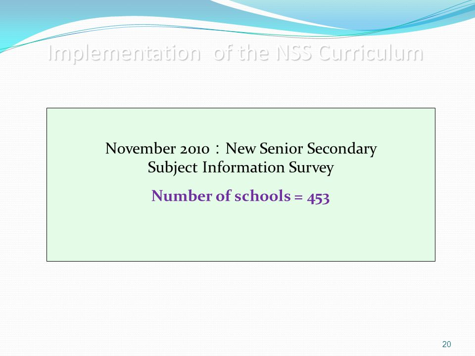 Implementation of the NSS Curriculum