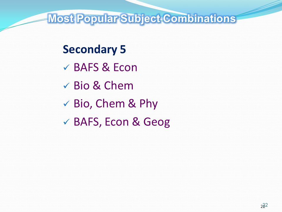 Most Popular Subject Combinations