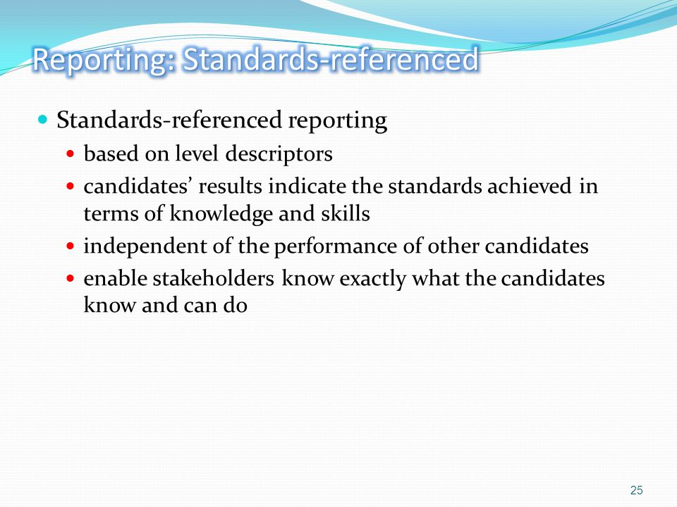 Reporting: Standards-referenced