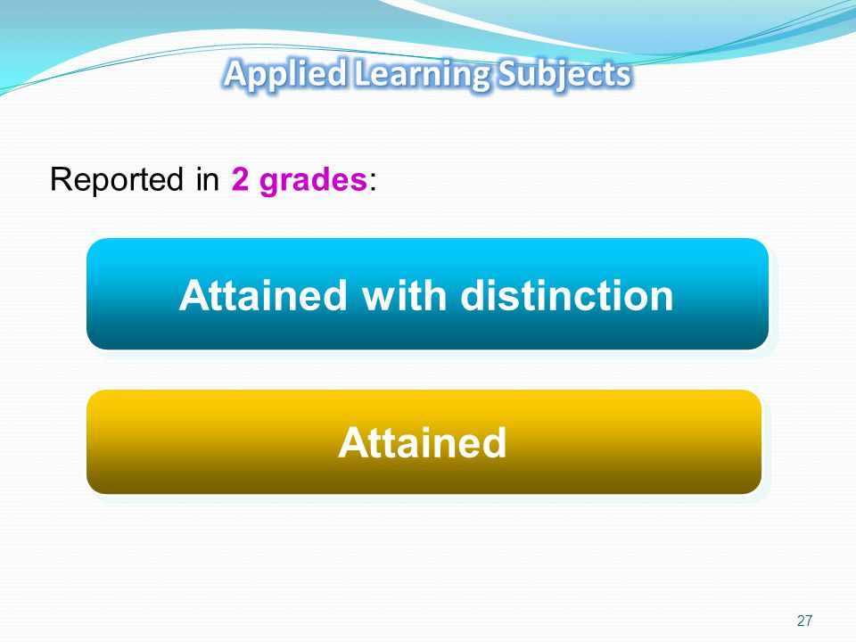 Applied Learning Subjects Attained with distinction