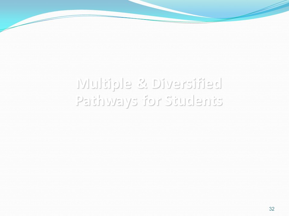 Multiple & Diversified Pathways for Students