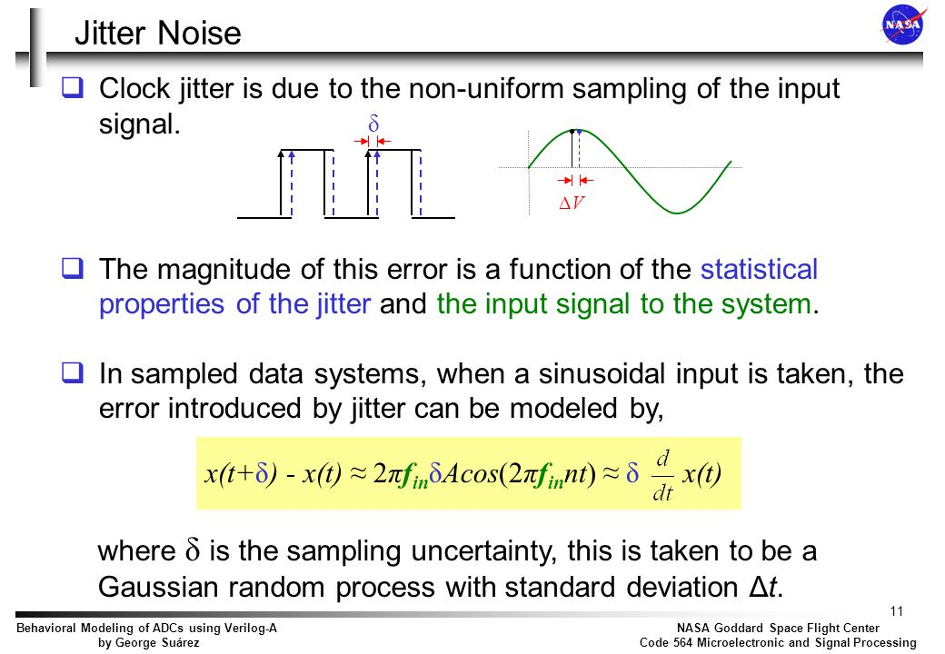 Jitter Noise It is assumed that is a Gaussian random process with zero mean and standard deviation Δt.