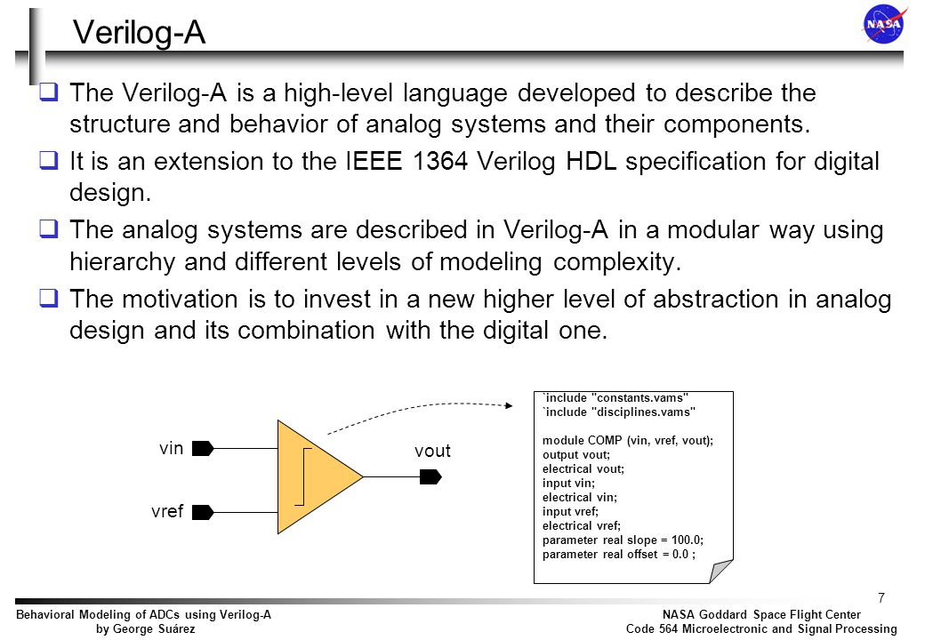 Objectives Build a set of analog and mixed-signal behavioral models using the Verilog-A AHDL, that allows a high level simulation of ADCs.