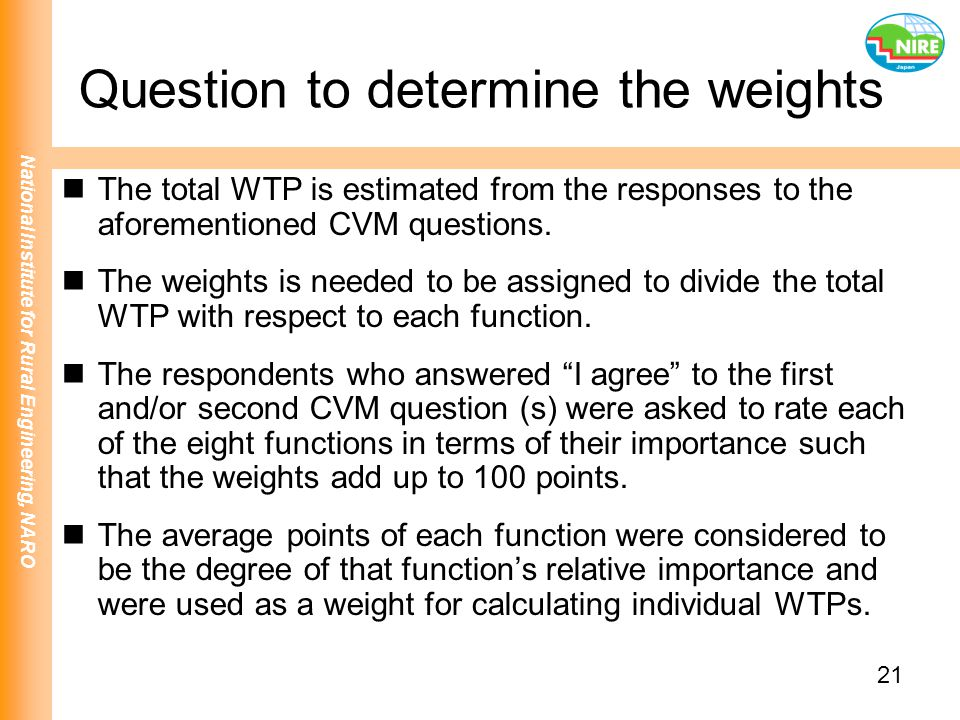 Question to determine the weights