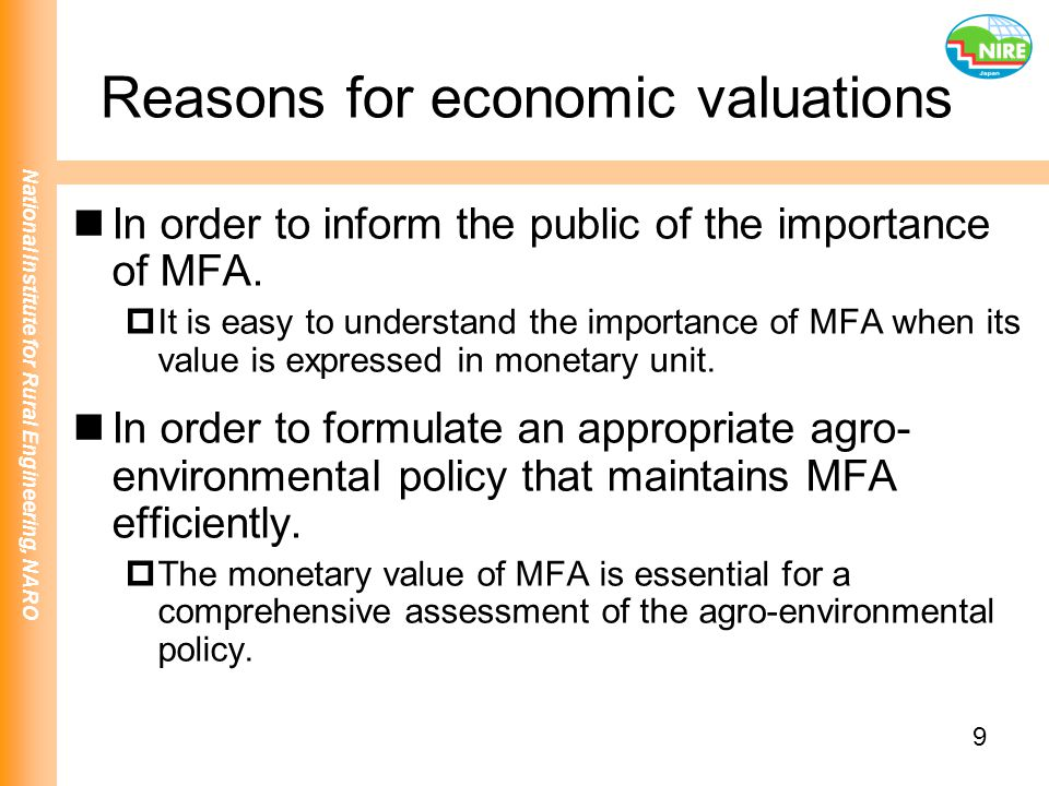 Reasons for economic valuations