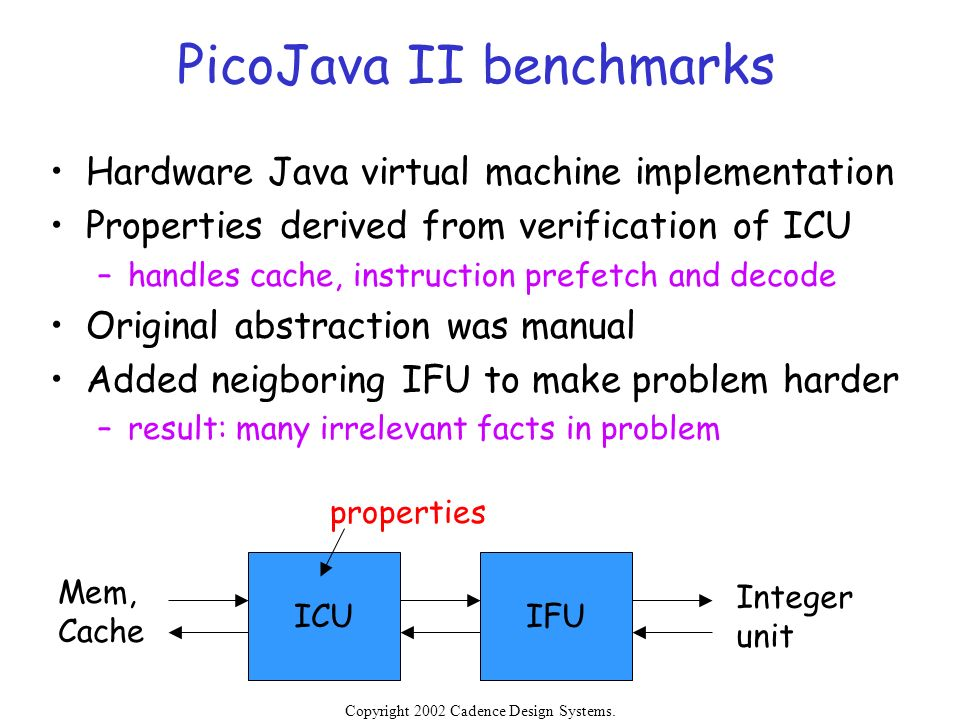PicoJava II benchmarks
