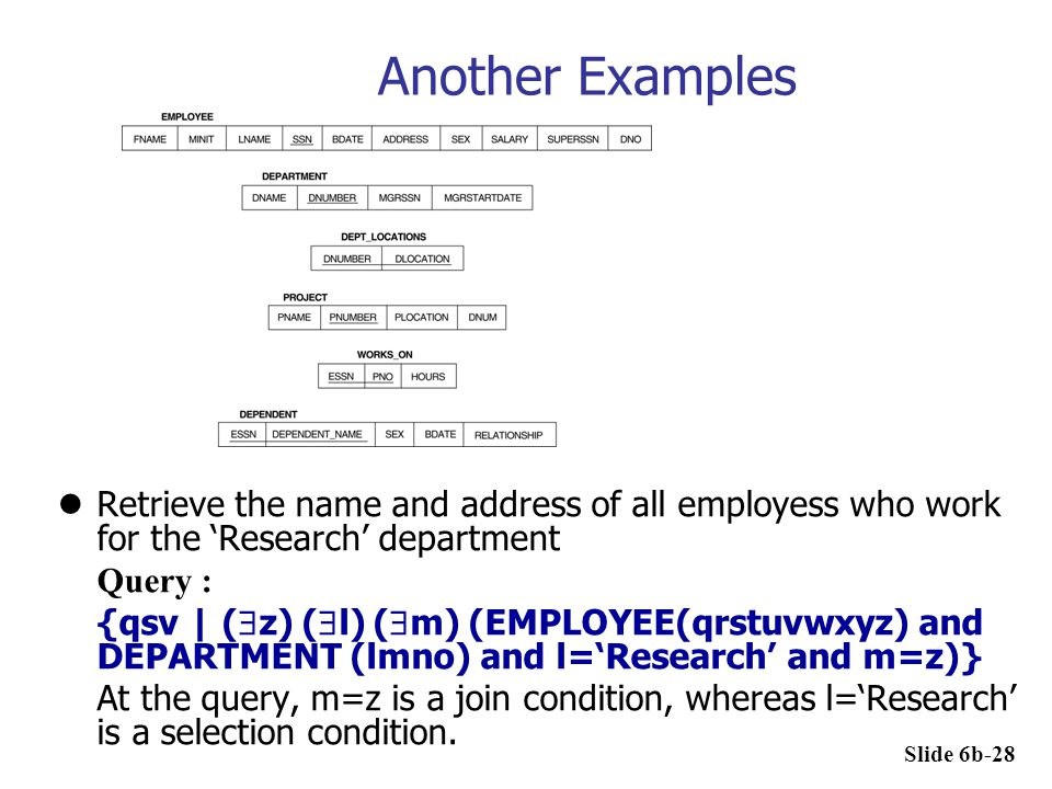 Another Examples Retrieve the name and address of all employess who work for the 'Research' department.