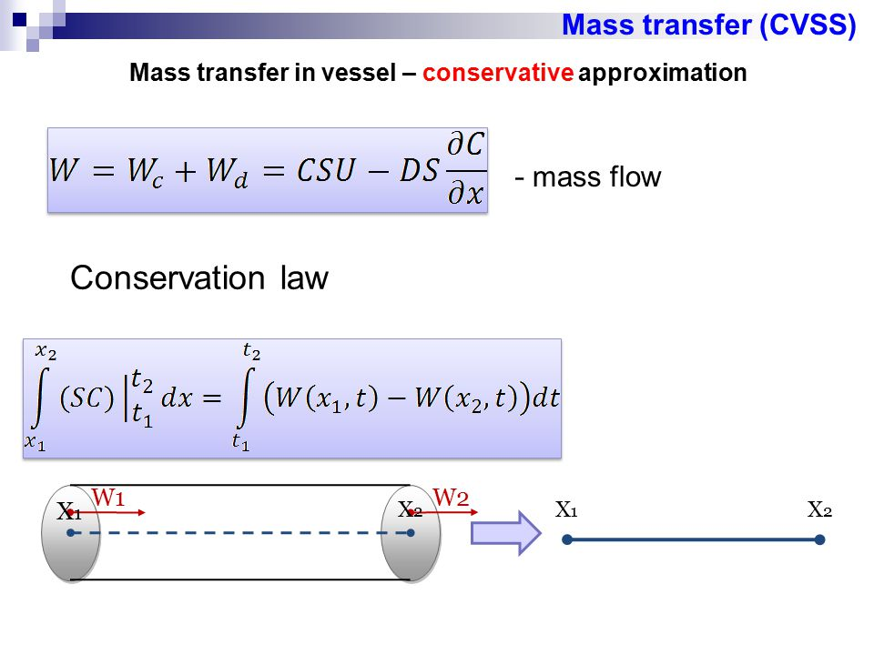 Mass transfer in vessel – conservative approximation
