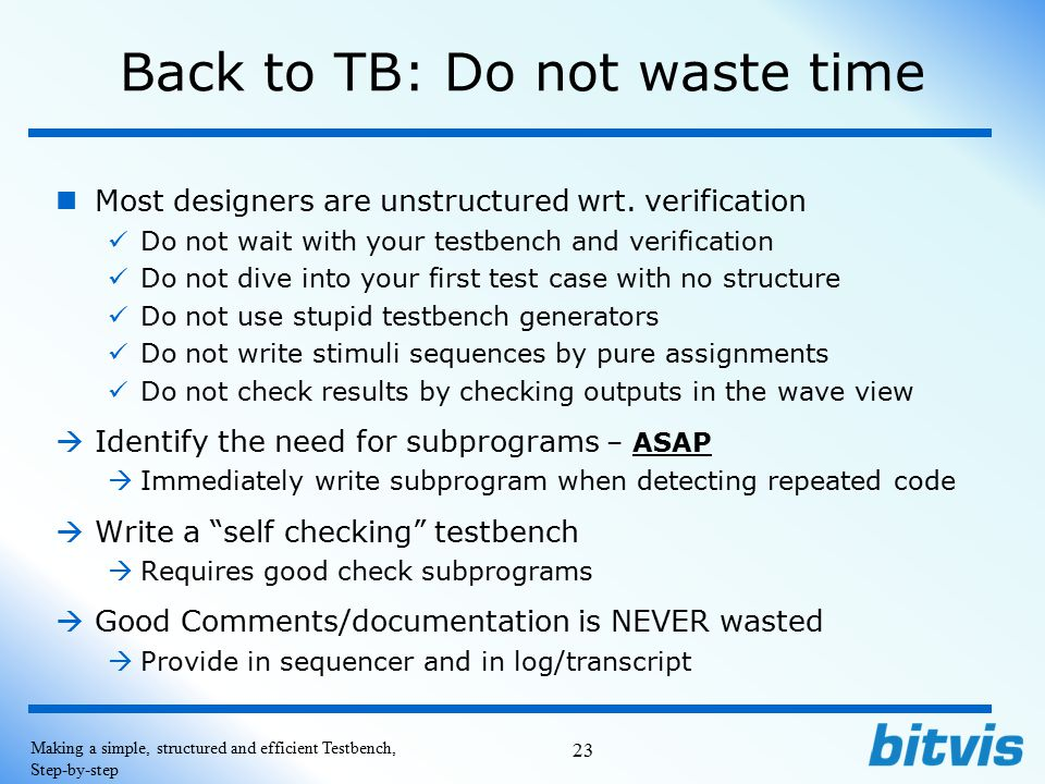 Back to TB: Do not waste time