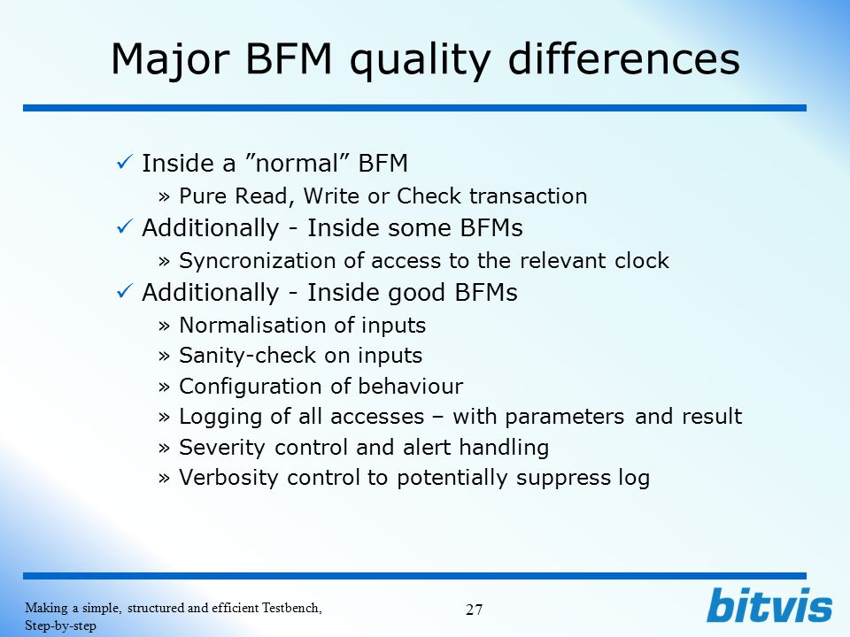 Major BFM quality differences