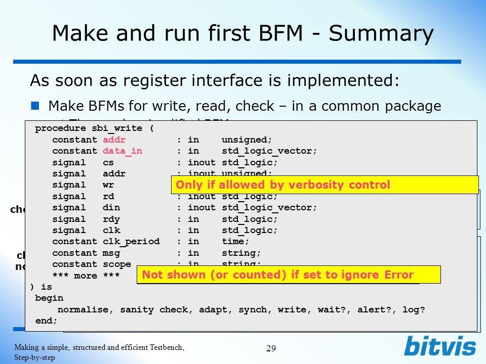 Make and run first BFM - Summary
