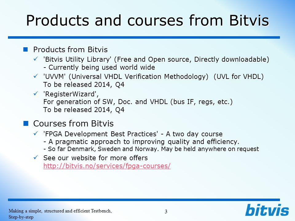 Products and courses from Bitvis