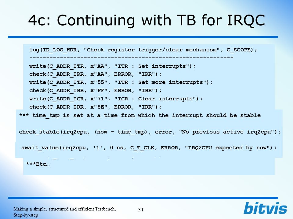 4c: Continuing with TB for IRQC