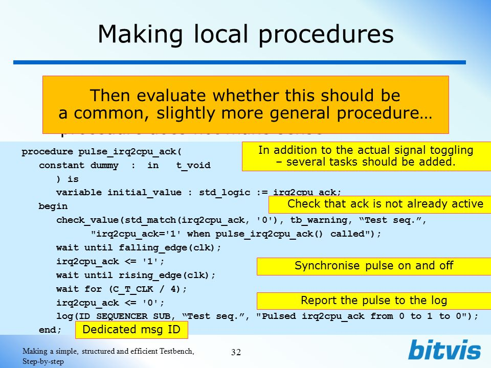Making local procedures