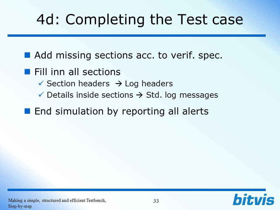 4d: Completing the Test case