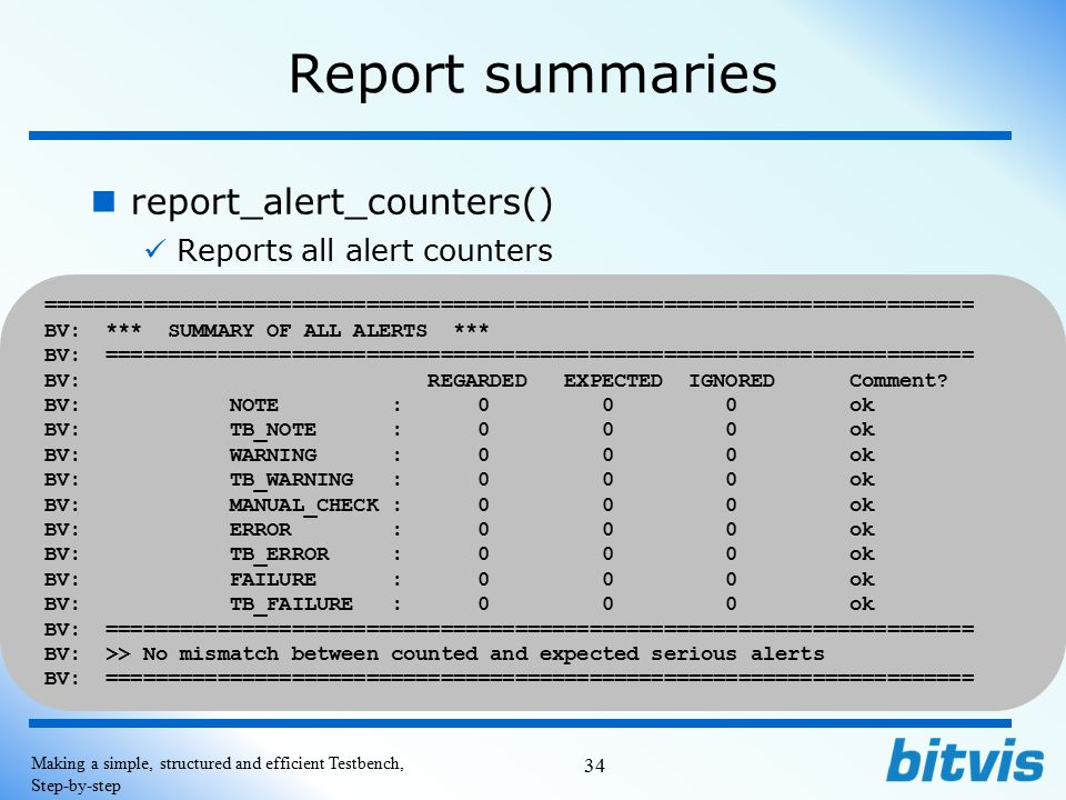 Report summaries report_alert_counters() Reports all alert counters