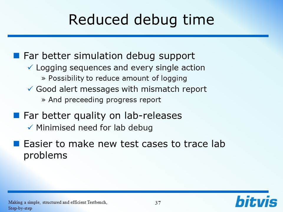 Reduced debug time Far better simulation debug support