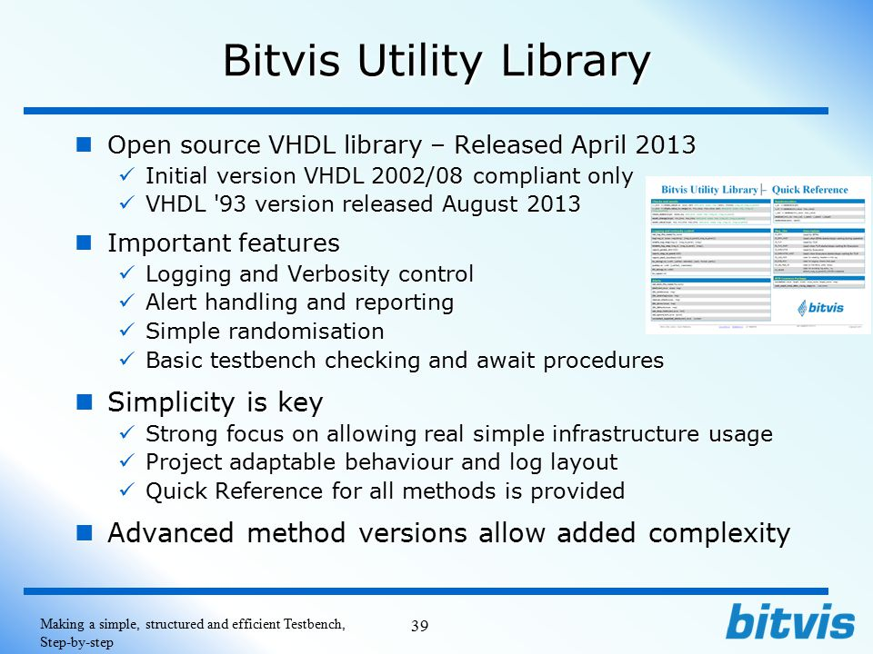 Bitvis Utility Library