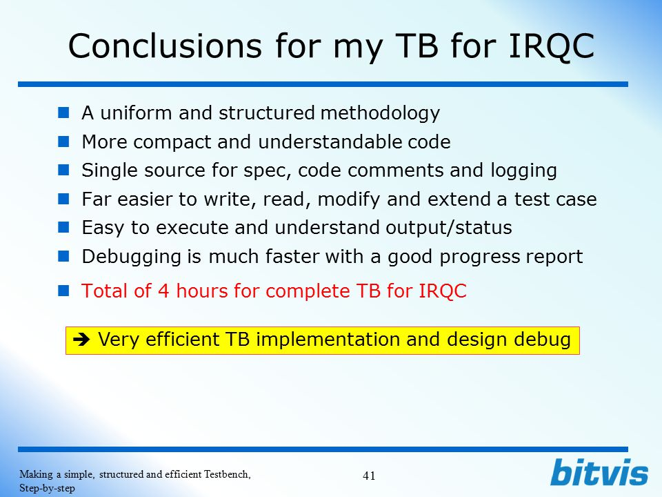 Conclusions for my TB for IRQC
