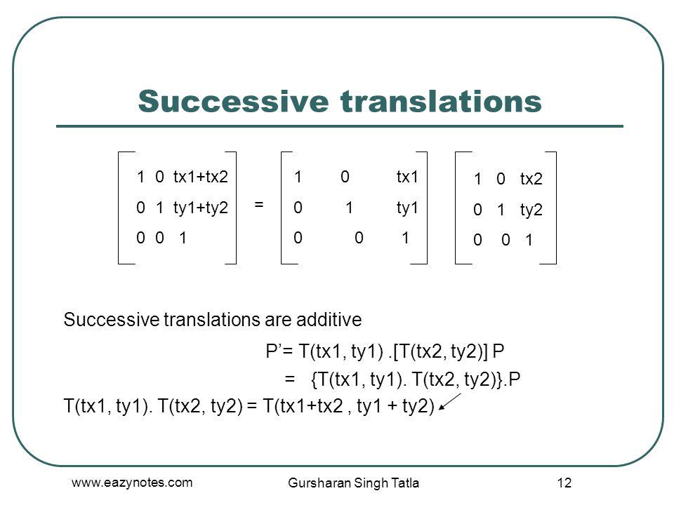Successive translations