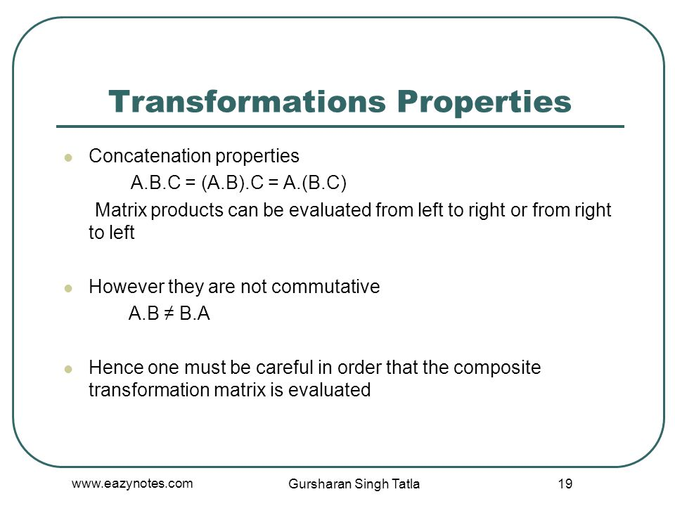 Transformations Properties