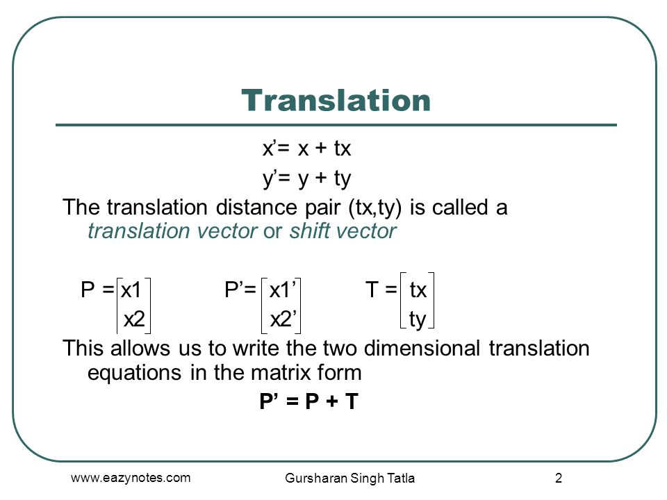 Translation x'= x + tx y'= y + ty