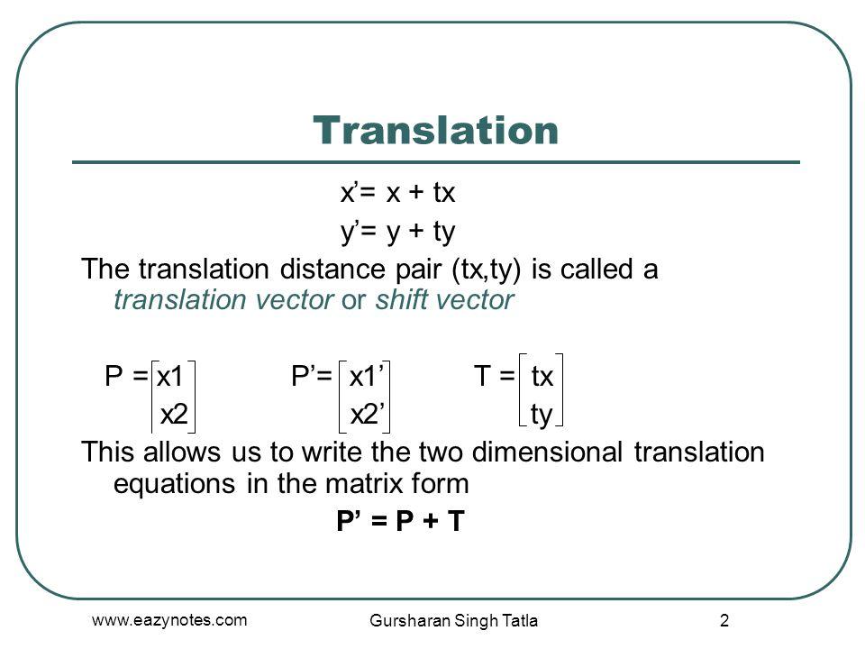 Translation x'= x + tx y'= y + ty