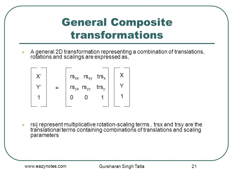 General Composite transformations