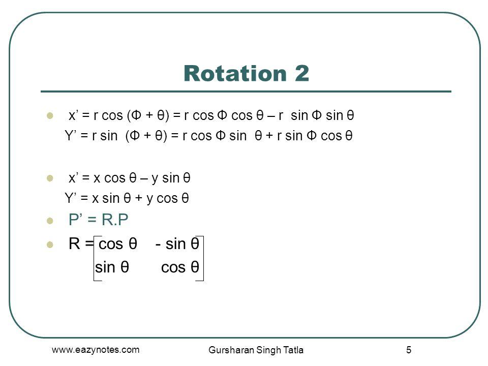 Rotation 2 x' = r cos (Ф + θ) = r cos Ф cos θ – r sin Ф sin θ