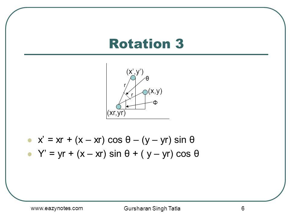 Rotation 3 x' = xr + (x – xr) cos θ – (y – yr) sin θ