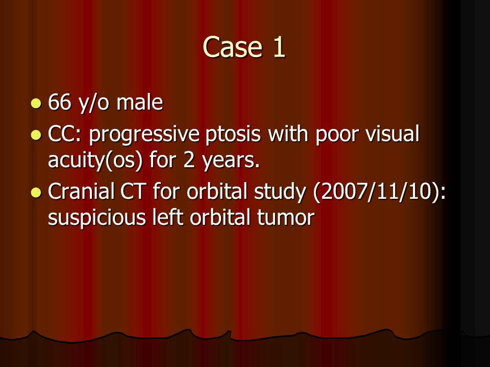Case 1 66 y/o male. CC: progressive ptosis with poor visual acuity(os) for 2 years.
