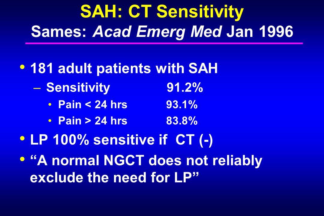 SAH: CT Sensitivity Sames: Acad Emerg Med Jan 1996