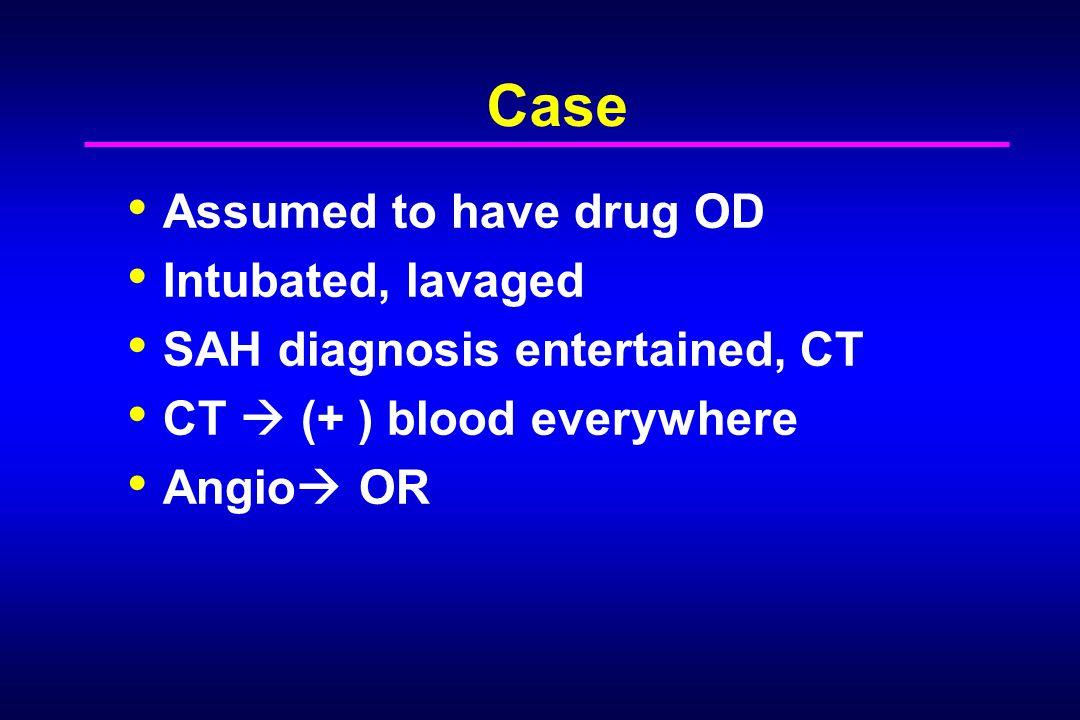 Case Assumed to have drug OD Intubated, lavaged
