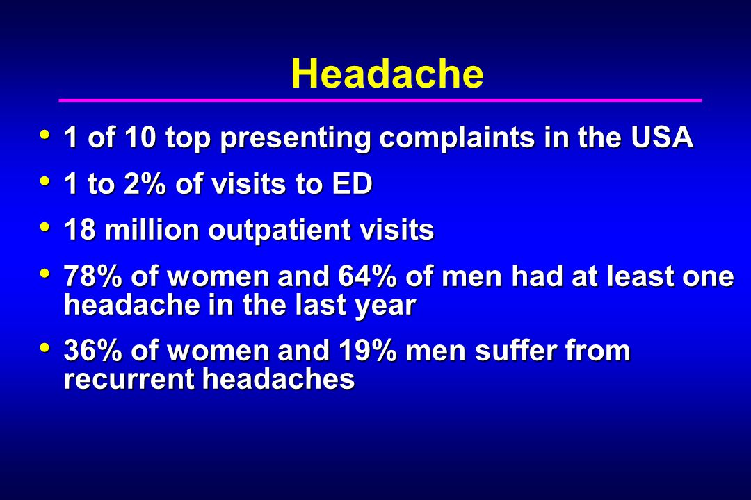 Headache 1 of 10 top presenting complaints in the USA