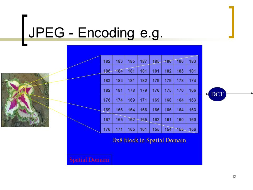 JPEG - Encoding e.g. DCT 8x8 block in Spatial Domain Spatial Domain