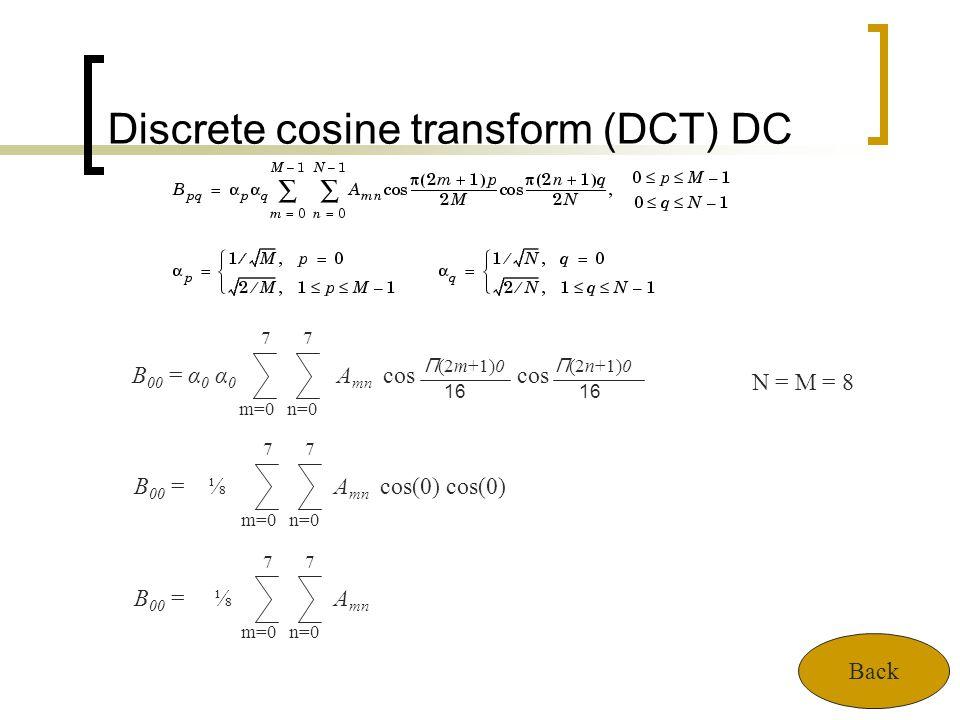 Discrete cosine transform (DCT) DC