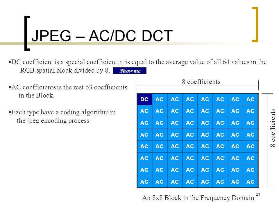 JPEG – AC/DC DCT DC coefficient is a special coefficient, it is equal to the average value of all 64 values in the.