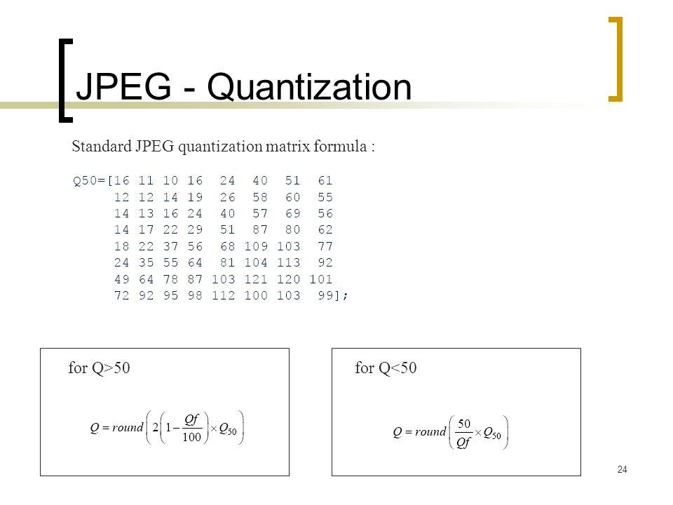 JPEG - Quantization Standard JPEG quantization matrix formula :