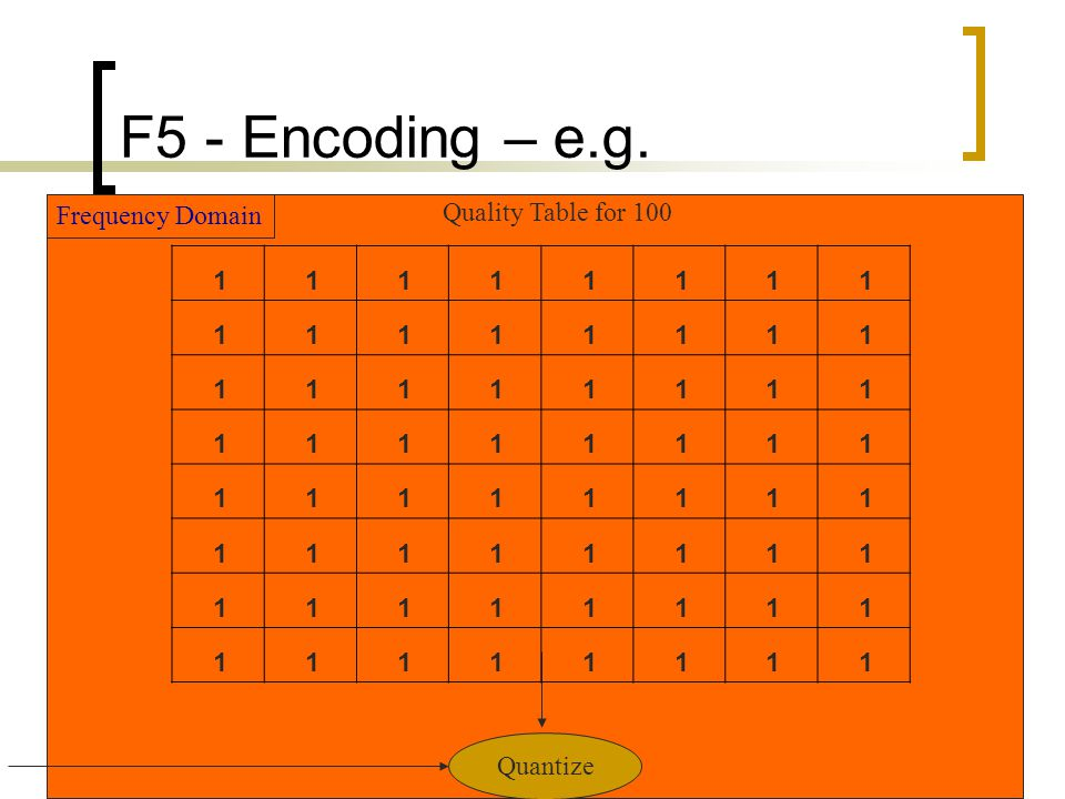 F5 - Encoding – e.g. Frequency Domain Quality Table for 100 1 Quantize