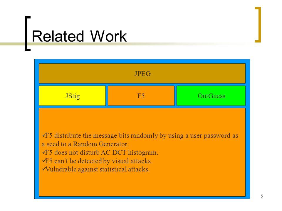 Related Work JPEG JStig F5 OutGuess