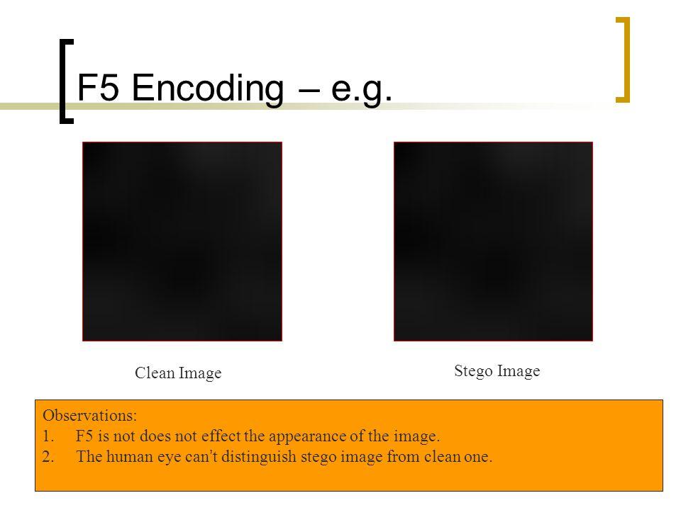 F5 Encoding – e.g. Clean Image Stego Image Observations:
