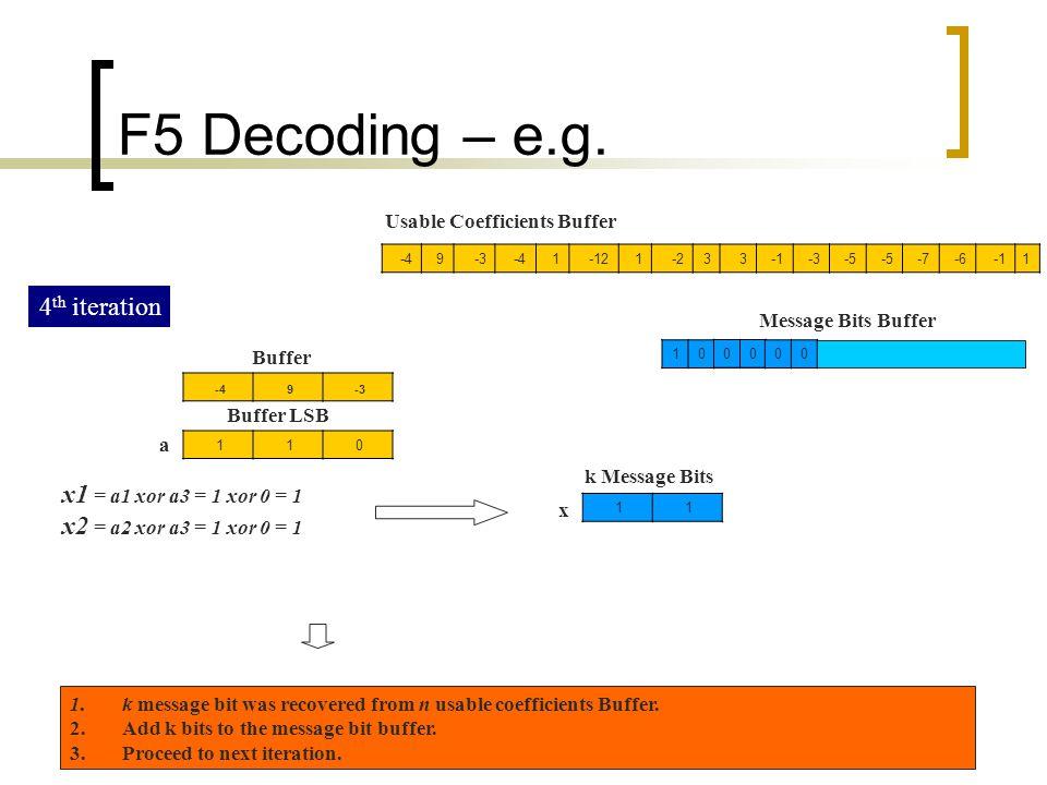 F5 Decoding – e.g. 4th iteration x1 = a1 xor a3 = 1 xor 0 = 1