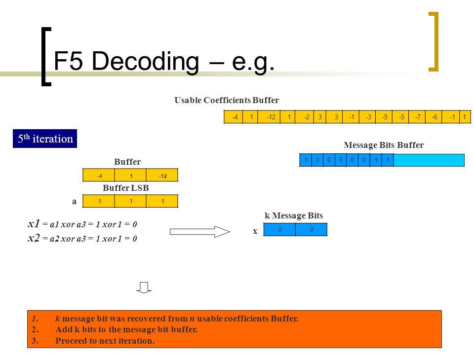 F5 Decoding – e.g. 5th iteration x1 = a1 xor a3 = 1 xor 1 = 0