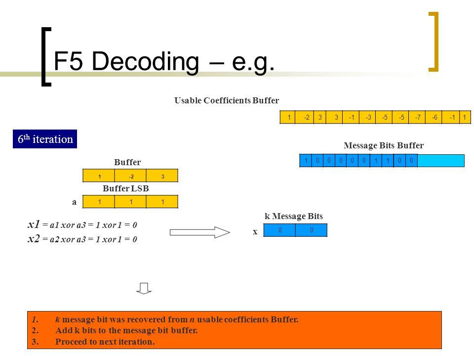 F5 Decoding – e.g. 6th iteration x1 = a1 xor a3 = 1 xor 1 = 0