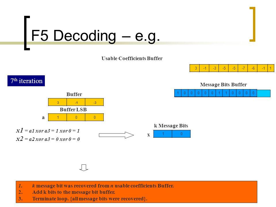 F5 Decoding – e.g. 7th iteration x1 = a1 xor a3 = 1 xor 0 = 1