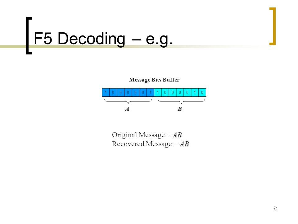 F5 Decoding – e.g. Original Message = AB Recovered Message = AB