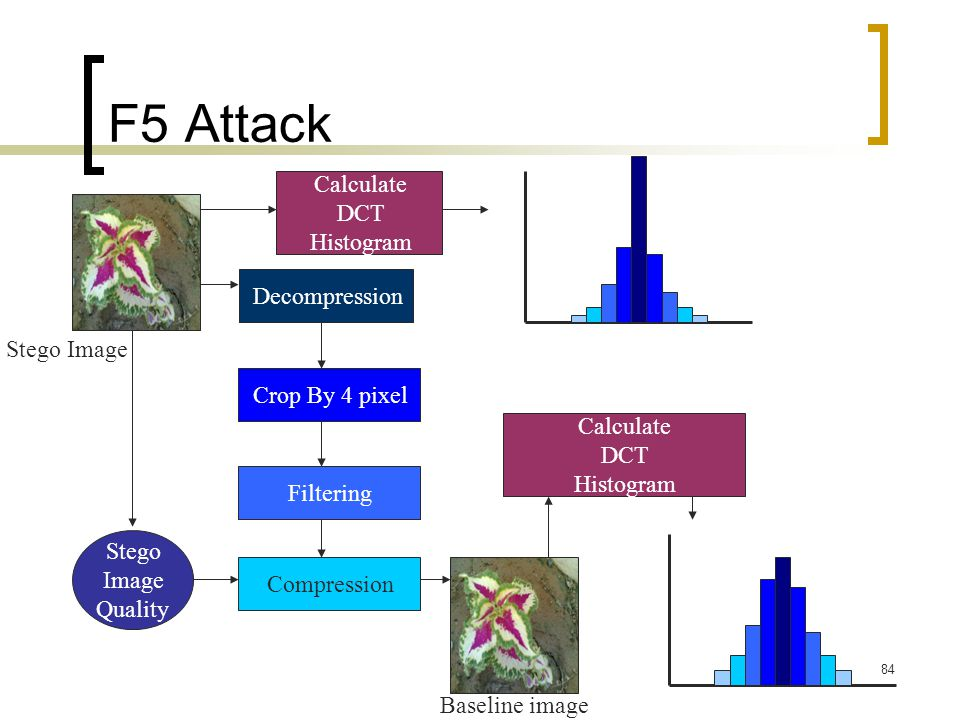 F5 Attack Calculate DCT Histogram Decompression Stego Image
