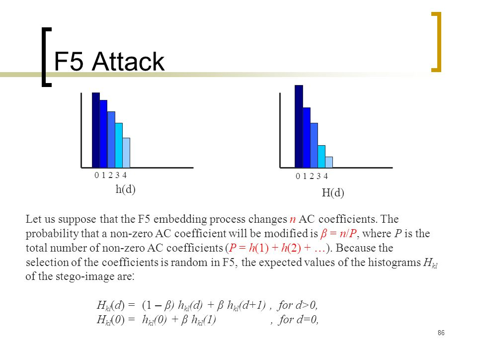 F5 Attack 0 1 2 3 4. 0 1 2 3 4. h(d) H(d) Let us suppose that the F5 embedding process changes n AC coefficients. The.